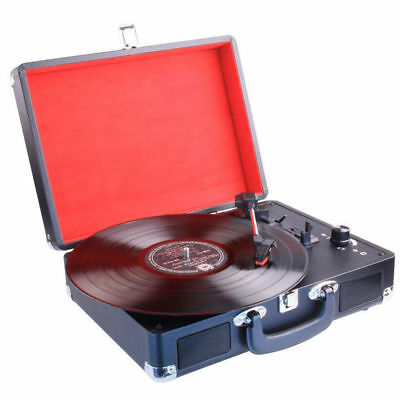 Laser Retro Bluetooth 3-speed Turntable w/ Built-in Speakers/Battery/USB Record
