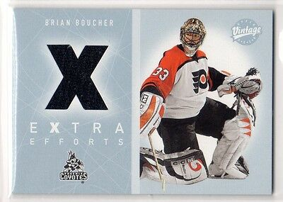 1X BRIAN BOUCHER 2002 03 UD Vintage #EE-BB EXTRA EFFORTS GAME USED JERSEY RELIC