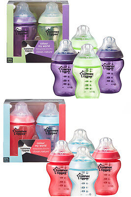 Tommee Tippee Colour My World baby feeding bottles 260ml x4 age 0m+   bpa free