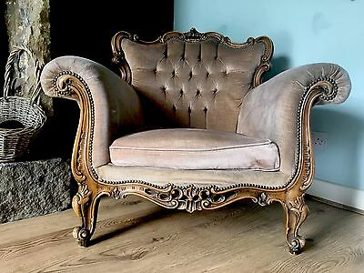 Stunning Rare French Antique Rococo Ornate Vintage Chair Shabby Chic Louis