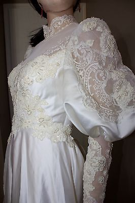 Vintage 70s Victorian Style Lace Beaded Wedding Gown Dress