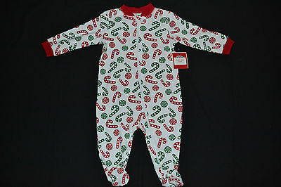 Baby Boy Girl CHRISTMAS Candy Cane Sleeper Footie Pajamas PJ's 3-6 Months NWT!