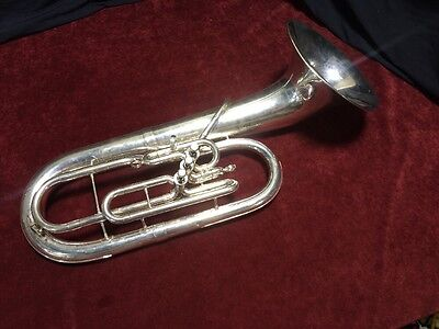 Beautiful Silver Finish King 625 Baritone Horn Bell Front