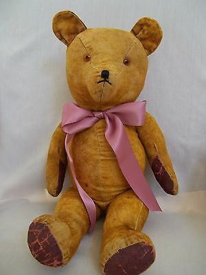 """Antique English Jointed Mohair Teddy Bear Large 20"""" Circa 1920"""