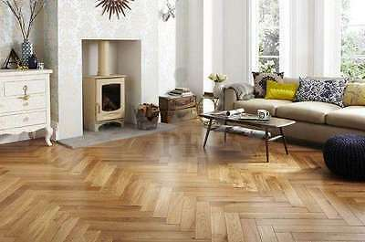 Engineered Parquet Herringbone Click System Oak Flooring Brushed & Lacquered