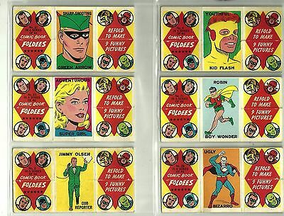 RARE 1966 TOPPS COMIC BOOK FOLDEES Lot of 6 SUPER GIRL,ROBIN KID FLASH VG / EX