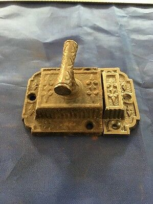 Victorian Cast Iron Cabinet Latch Antique Hardware Patented Free Shipping