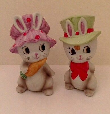 Anthropormophic Bunny Rabbits Ceramic Salt And Pepper Shakers