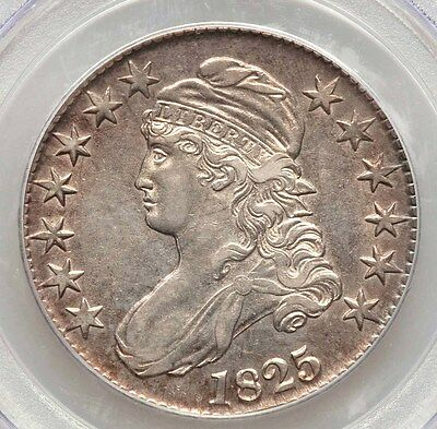 1825 Capped Bust PCGS AU50 Edge Toned Silver Half Dollar Type Coin Overton