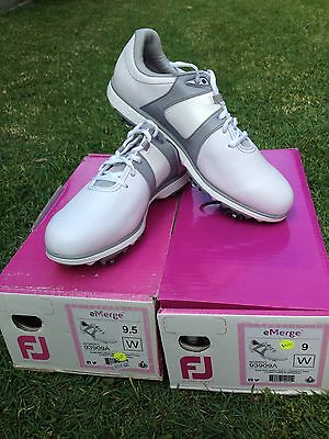 NEW Footjoy Emerge ladies golf shoes 2 x pairs - Sizes 9 and 9.5 white/grey
