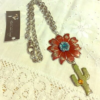 West Coast Cowgirl Handpainted Cactus w Flower Necklace 18 inch Chain New w Tag