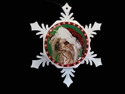 Santa Chinese Crested Hairless Christmas Ornament