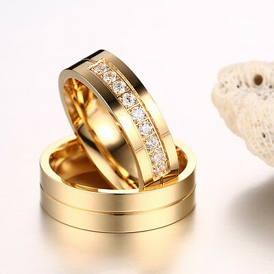Women Men Couple Wedding Band Rings 18K Gold Plated Crystal Stainless Steel Ring