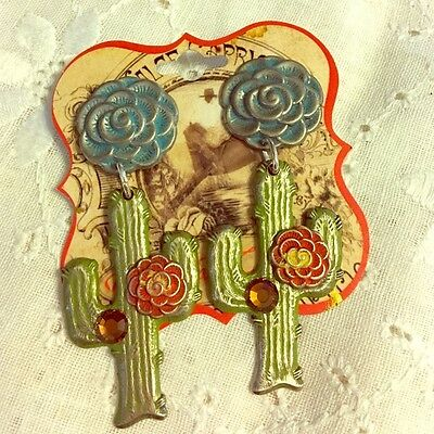 West Coast Cowgirl Handpainted Cactus w Flower Earrings New w Tag Made in USA