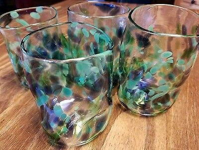 4 blue and green blown glass PINCH TUMBLERS drinking glass signed by MJ16