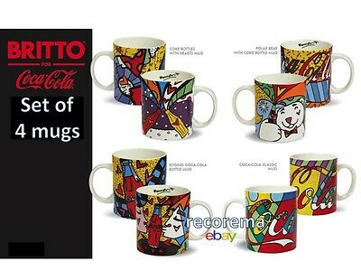 Romero Britto A Set Of 4 Coca-Cola Mugs ** New ** Gift Boxed Each **