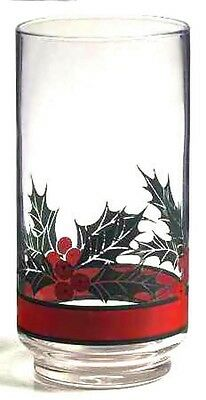 Libbey Christmas Holly & Berries Band Straight Tall Tumbler 16 oz EXCELLENT UC