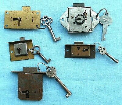 Lot of 5 old Architectural and furniture locks all with keys and working good
