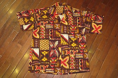 Vintage 50s Barkcloth Cotton Mens Medium Hawaiian Shirt