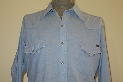 Vintage 70s Sears Mens Medium Chambray Western Pearl Snap Cowboy Shirt