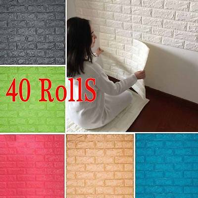 Lot 40 Rolls 3D Effect Stone Brick Wall Textured Vinyl Wallpaper Self-adhesive