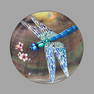 Hand Painted Dragonfly Natural Mother Of Pearl Shell Diy Pendant Zp30 00562
