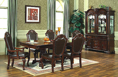 Traditional McFerran D5006 + D5004 Cherry Finish 9 Piece Dining Set