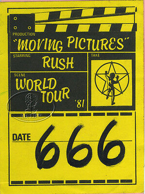 RUSH 1981 Moving Pictures UK Tour Backstage Pass Ticket