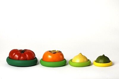 Food Huggers Set of 4 fit perfectly on a variety of cut fruits,vegetables & jars