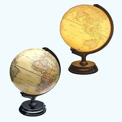 Educational Embossed Raised Relief World LED Globe Table Lamp Travel Home Decor