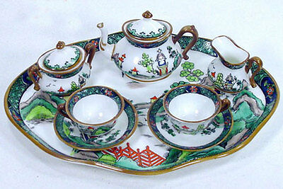Antique Crown Staffordshire Willow Miniature Mini Doll Cup Saucer Teaset Tea Set
