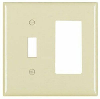 Pass and Seymour TP126-I Ivory Nylon Wall Plate, 2 Gang 1-Toggle 1-Decora