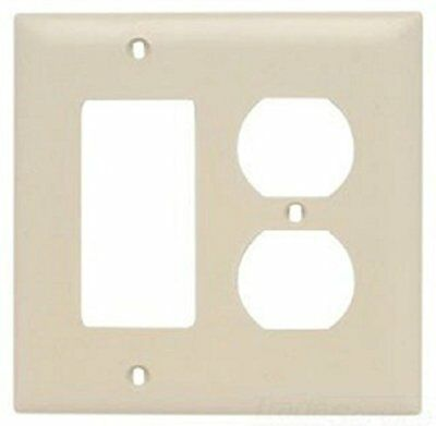 Pass and Seymour TP826-I Duplex Wall Plate, 1 Duplex 1 Decor, Ivory Color