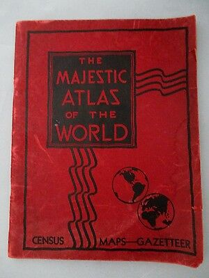 VINTAGE 1934 The Majestic Atlas of the World - Census, Maps, Gazetteer