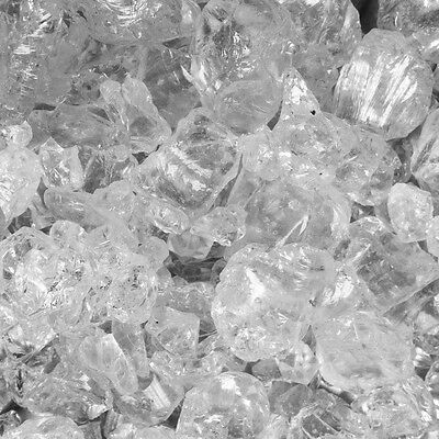 """10lbs Clear Fireglass for Fire pits & Fireplace 1/4"""" Crushed Glass"""