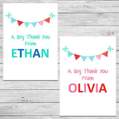 10 x Personalised Childrens Birthday Christening Christmas Thank You Cards