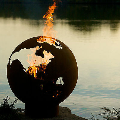 NEW - The Globe / World 1/4 Inch Carbon Steel Outdoor Wood Burning Fire Pit