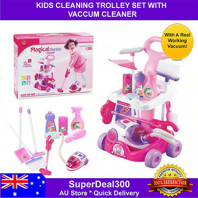 Kids Cleaning Trolley Play Set With Vacuum & Accessories