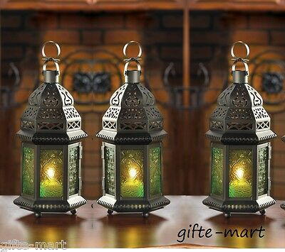"6 GREEN Moroccan 10"" tall Candle holder Lantern Lamp wedding table centerpiece"