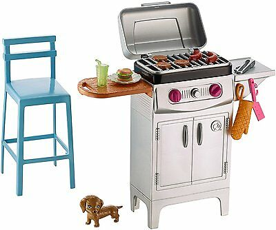 NEW! 2017 Barbie Doll House Furniture BBQ Grill & Accessories Playset New In Box