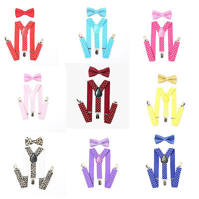 Baby Adjustable Suspender and Bow Tie Set for  Toddler Boys Girls Children