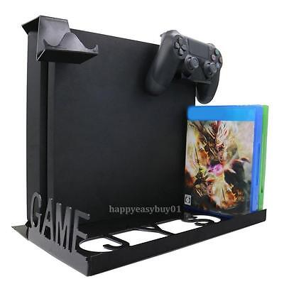 Game Console Horizontal Wall Mount Stand Holder w/ Multicolor LED Light For PS4