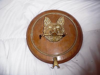 Antique Brass Fox Head Horse Riding Whip Rack/dog Lead Holder