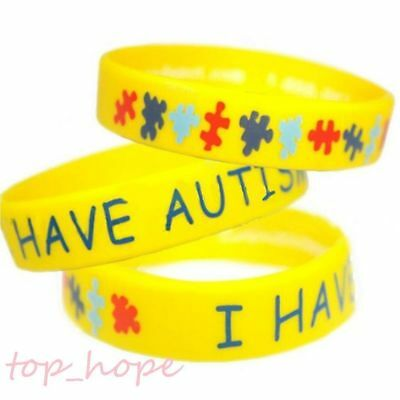 1PC Autism Awareness Wristband Autistic Medical Silicone Sport Wide Bracelet NEW