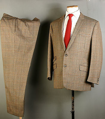 Bespoke Canvassed Vintage Suit 42S 36W 31L Brown Check Wool