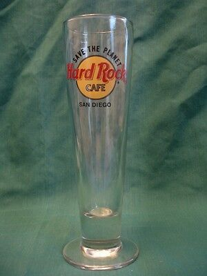 Hard Rock Cafe San Diego Save the Planet Tall Beer Glass Pilsner Bar Man Cave