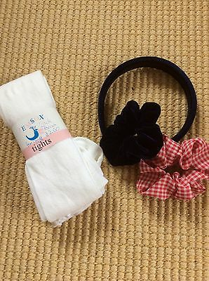 Age 7-8 White School Tights And 2 Scrunched Hair Ties And Alice Band