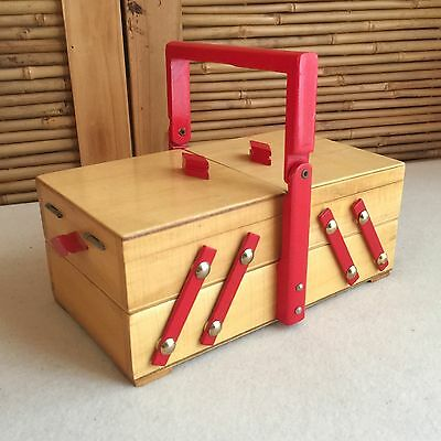 SMALL Vintage 40s/50s Red TIMBER Wooden CANTILEVER Sewing STORAGE Jewellery BOX
