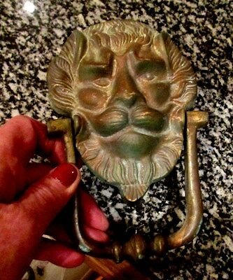 Vintage  Solid Brass Large LION Door Knocker