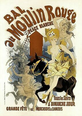 Vintage French Bal Au Moulin Rouge Art Nouveau Advertising Poster Print A3 A4